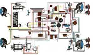 Электросхема МТЗ-82: электрооборудования МТЗ-80, цветная схема электропроводки старого образца с описанием, с маленькой кабиной, большой